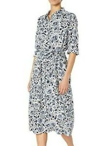 Lucky Brand Women Tricia Western Dress Blue White Floral Midi Sz Small NwT $139