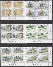 TRISTAN DA CUNHA: 1983 Island History set 1p-£2 SG349-60  used plate blocks of 4