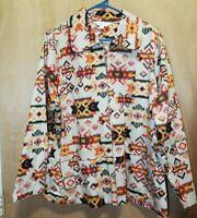 Breckenridge Womens Southern Multi Color Zipper Long Sleeve Top 2X W/2 Pockets