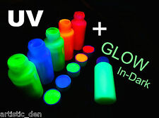 Rave Party Festival Face & Body Paint Set UV Neon Fluoro + Glow 6x 50ml Tubes