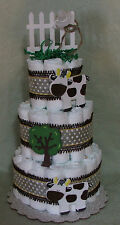 3 Tier Diaper Cake Cows Barnyard Bash Farm Animal Baby Shower Centerpiece