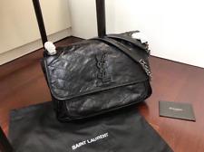 Saint Laurent Niki Leather Bag Medium Ysl Shoulder Chain Matelasse Chevron Black
