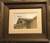 "Vintage Dbl Matted  Barn Watercolor Painting Heavy Wood Frame 13 X 11"" Rustic"