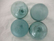 4 Authentic Beachcombed Japanese Glass Fishing Floats, Tiny Marks in a Circle
