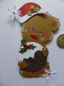 4 Large Christmas pudding Bear & Stocking 3D Handmade Card Toppers Grandma Mum