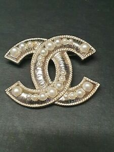 Chanel Gold Silver CC White Pearl Brooch Pin Badge