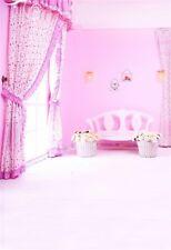 5x7ft Baby Girl Studio Photo Background Vinyl Digital Pink Curtain Backdrop Prop