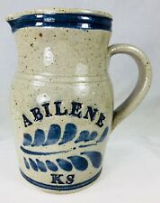 "Abilene KS Salt Glaze Pottery Pitcher Jug Artisan Studio 6.5"" Kansas Grey & Blue"