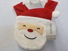 INFANTS CARTER'S RED WHITE SANTA CHRISTMAS BIB ONE SIZE NEW NWT 373^