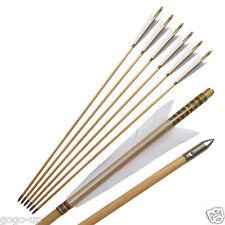 6x War-style Turkeys Feather Traditional Wooden Arrow for European Style Longbow