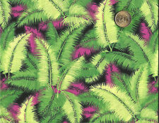 HOT PINK & Green Feathers on Black Cotton Fabric  BTY