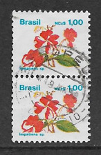 BRAZIL POSTAL ISSUE - USED PAIR OF DEFINITIVE STAMPS 1989 - FLOWERS - IMPATIENS