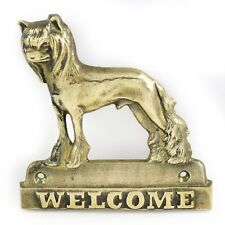 """Chinese Crested - brass tablet """"WELCOME"""" with image of a dog, Art Dog"""