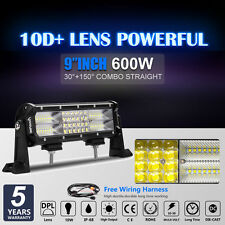 "10D 9Inch 600W Lens Led Spot Flood Combo Quad Rows Light Bar VS 3ROW 6D 7D 12"""