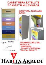 Cassettiera 7 Cassetti Bombata Multicolor Economica Assemblata DESIGN MODERNO