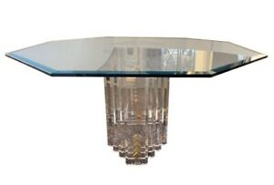 Charles Hollis Jones Skyscraper Lucite Dining Room Table Round Octagonal Glass