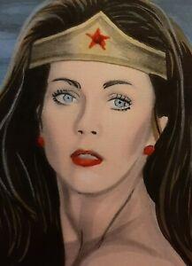 Original Lynda Carter plays Wonder Woman aceo sketch card drawing