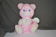 "1994 Fisher Price Puffalump Pink Bear 9"" Rattle Baby Lovey Plush Bib Heart 1216"