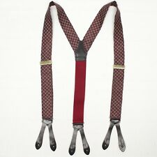 English Silk Mens Braces Suspenders Burgundy Gold Check Weave Leather Button Tab