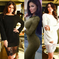 Fashion Womens Sexy Long Sleeve Bodycon Party Evening Cocktail Casual Mini Dress