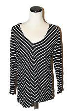 MOSSIMO @ Target Black & White Chevron VNeck Back Zipper Long Slv Knit Shirt M