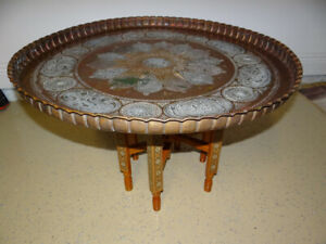 """Vintage Moroccan Egyptian Brass Copper Tray Table with Wood Carved Legs 29"""""""