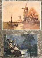 """Vintage Windmill Prints (2) F Von Vreeland12 1/2 X 9 1/2"""""""