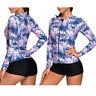 Lady Long Sleeve Zipper Top Shirt Swimsuit Wetsuit Rash Guard Surf Swim Suit