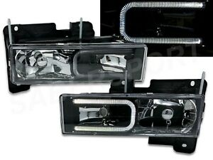 Set of Black Headlights w/ LED C-Bar for 1988-1999 GMC Chevy C/K Full Size
