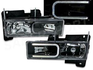 Set of Black Headlights w/ LED C-Bar for 1988-1999 GMC Chevy C/K Full Size