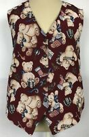 Bobbie Brooks Vest Sz Large Womens Tapestry Teddy Bear Christmas Gifts Button Up