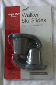 Walker Ski Glides Gray 1 Pair Upturned Front Lip Walker Accessories - Fits Most