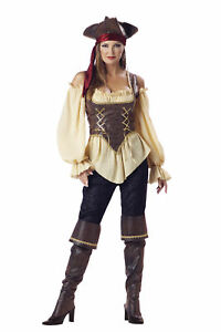 Rustic Pirate Lady Elite Adult Collection Costume Corset Gold Halloween