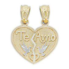 "Gold Break-apart ""Te Amo"" Heart Pendant, 14k Solid Gold"