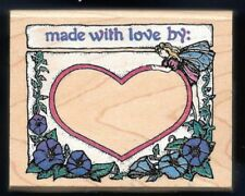 FAIRY WINGS HEART MADE WITH LOVE BY: fantasy hand craft RUBBER STAMPEDE stamp