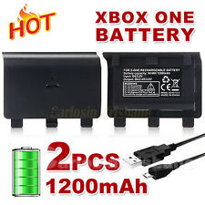 2x 1200mAh Rechargeable Battery Pack +USB Cable For XBOX ONE Wireless Controller