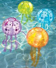 Set Of 4 Inflatable Jellyfish Swimming Pool Bubble Lights Fun Sea Life Light