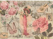 Rice Paper for Decoupage Scrapbook Craft Sheet Steampunk Women with Hat