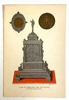 ANTIQUE  GOLD SILVER OLD PAPER ART PRINT OF CLOCK OF DAMASCENE IRON AND WATCHES