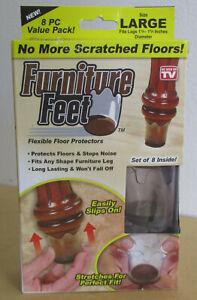 Furniture Feet Large Set of 8 Flexible Chair Leg Floor Protectors As Seen On TV