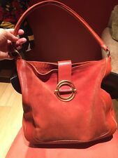 FURLA SUEDE LEATHER ORANGE RUST COLOR LARGE HOBO SHOULDER BAG PURSE