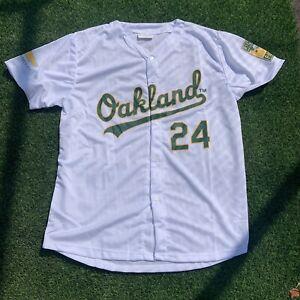 """Oakand Athletics – Rickey Henderson White """"Oakland"""" Jersey Shirsey SGA"""
