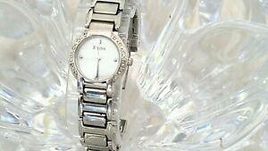 Bulova Diamond MOP  96R08 12 Diamond Stainless Bracelet Ladies Watch