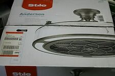 """NEW Stile Anderson 22"""" LED Indoor / Outdoor Brushed Nickel Enclosed Ceiling Fan"""