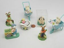 Collectible Mini Lot 7 Figurine Lamb,Bunny Stroler,Feed Chics,Flowers,Pick Veggy