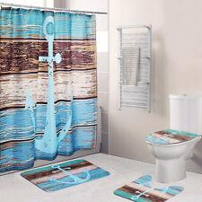 4Pcs Anchor Bathroom Pedestal Rug + Lid Toilet Cover + Bath Mat + Shower Curtain