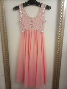Pink Dance Costume Ballerina Princess Gym dress - Ditsy Vintage Age 14 15 16