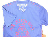 $225 True Religion Mens Blue Mr. Nice Guy T-Shirt Athletic V-Neck Tee Size Xxl