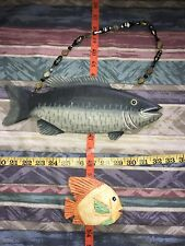 Wooden Carved Fish Green Beading Yellow Standing Hanging Med Small Chips Vintage
