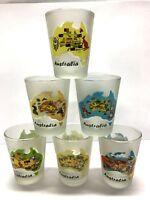 6pc Australia Souvenir Shot Glass Australian Map Shot Frost Glasses Set in Box